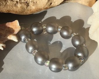Handmade Lampwork Glass Beads SRA Silver Shimmering Sea Pearl Rounds (10)
