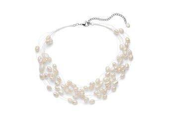 Multi Strand Baroque White Freshwater Cultured Pearl Necklace