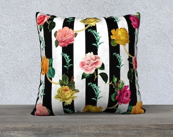 Black & White Stripe with Vintage Flowers Pillow Cover-Striped Floral Pillow-Black and White-Throw Pillow Covers-Decorative Pillow Covers