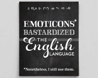 English Teacher Chalkboard Print Grammar Emoticon Gift for Teachers Typographic Print Editor Writer English Gifts Gag Gift Office Decor