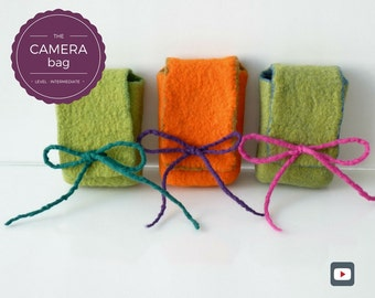 Personalized Camera Bag/Camera Case/Phone Case - Wet Felting Video Tutorial/Pattern/DIY – Gift For Women/Girlfriend Gift - Instant download
