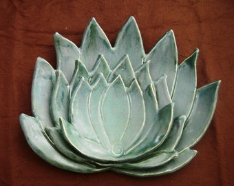 Ceramic Agave cactus serving dishes, Stacked set of 3. botanical wares, Southwest cactus, teal glaze, spoon rests, whimsical, Home decor