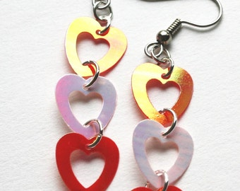 Valentine Earrings Linked Heart Earrings Red & Pink Iridescent Confetti Dangles Plastic Sequins