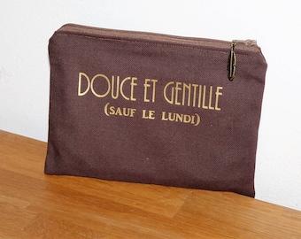 "message Kit ""Gentle and kind except Mondays"" - clutch bag/makeup/keys-brown/gold"