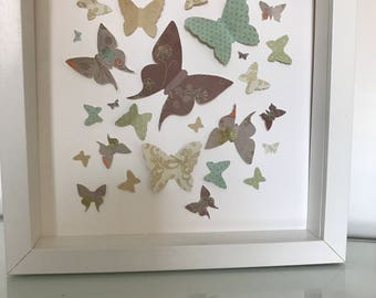 3d Handmade Individual Butterfly Pictures in box frames.