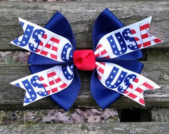 USA Red, White and Blue Hair Bow (4 inch)