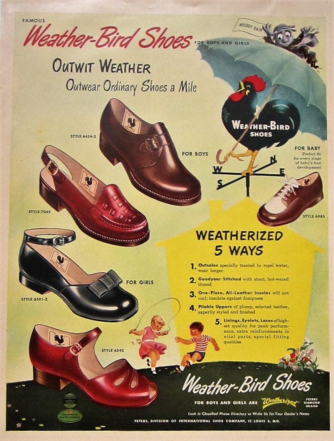 1957 Weather Bird Shoes Vintage Advertisement Bedroom Wall Art