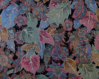 Robert Kaufman Vintage Fabric, Stylized Leaves in Pink, Green, Blue & Gold on Black, by the yard