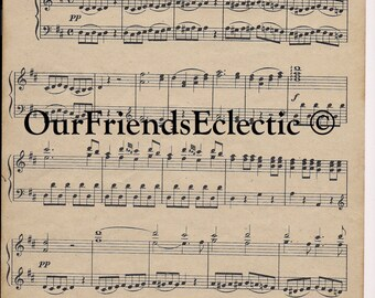 Digital download music sheet, printable vintage music sheet, Mozart digital paper. digital music sheet, you print