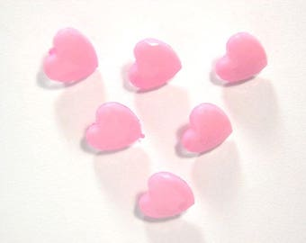 LOT 6 buttons: pink heart clear 14mm