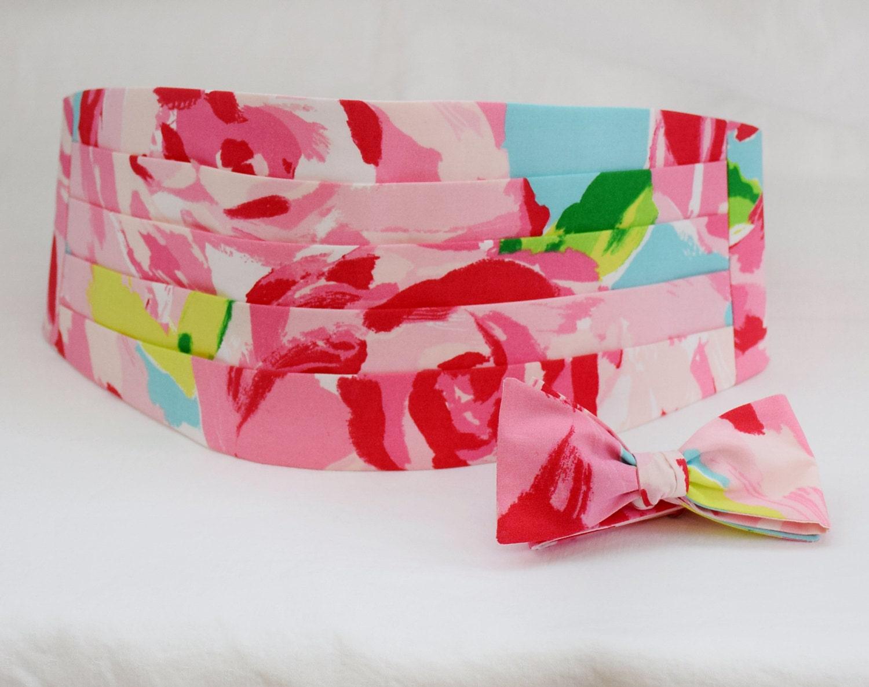 Cummerbund & Bow Tie pink First Impressions Lilly print
