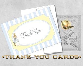 Peter Rabbit Thank You Cards - Blue and Yellow Baby Shower Folding Thank You Notes - Printed 4Bar Cards with Envelopes