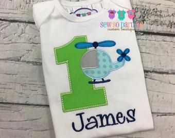 1st Birthday Helicopter birthday shirt - boy transportation birthday shirt - Helicopter birthday outfit - first birthday boy shirt - ANY AGE