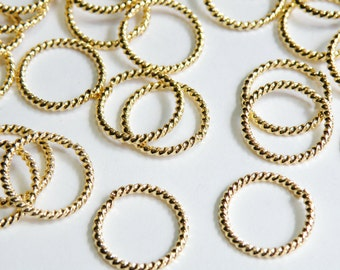 25 Fancy Twisted round open jump rings gold plated brass 15mm 16 gauge A7029FN