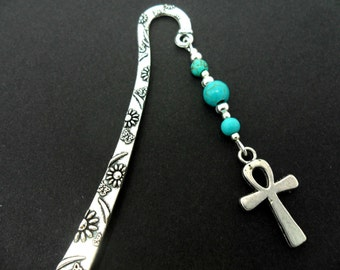 A tibetan silver and turquoise bead ankh cross  charm  bookmark.