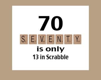 70th Birthday Card, Milestone Birthday, 70th Birthday, Scrabble Birthday Card, Scrabble, The Big 70, 1948 Birthday Card