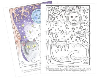 Once in a Lucky Blue Moon Coloring Sheet Digital Download - PDF & JPG formats