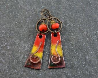 Gypsy Chic  Bohemian Earrings Hippie Jewelry Enameled Copper Charms