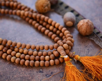 8mm Natural Aromatic Sandalwood Beads from India, 108 Beads Necklace / Yoga, Malas, Prayer Beads / Wood, Wooden Beads, Jewelry Supplies