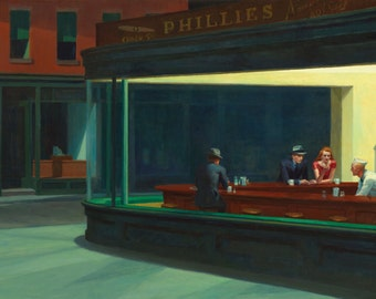 Nighthawks by Edward Hopper Home Decor Wall Decor Giclee Art Print Poster A4 A3 A2 Large Print FLAT RATE SHIPPING