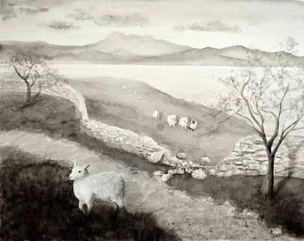 The Wandering Sheep, III; Black and White; Original Watercolor Painting, 16x20 inches