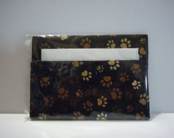 Everyday Purse or Pocket Tissue Cover -  Dark Brown Animal Paw Print
