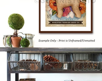 Wheaten Terrier dog Seed Company Wildflowers vintage style seed packet artwork by Stephen Fowler Giclee Signed Print