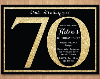 70th Birthday Invitation Gold Glitter Bokeh 80th 90th 100th