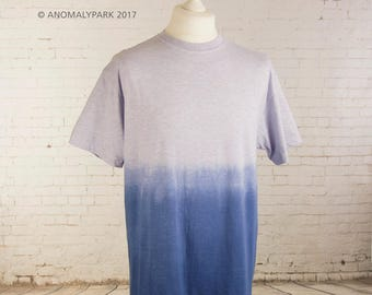Ombre dip dyed mens t-shirt, gradient grunge tshirt steampunk t shirt, pastel goth gift, tie dye, aesthetic clothing, gift for him, Size XXL