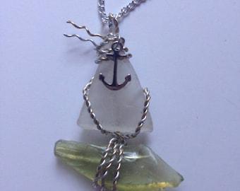 Sea Glass Sail Boat Necklace