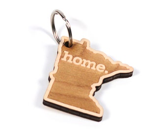 Minnesota Key Charm by Home State Apparel: Laser Engraved Wood Keychain, MN