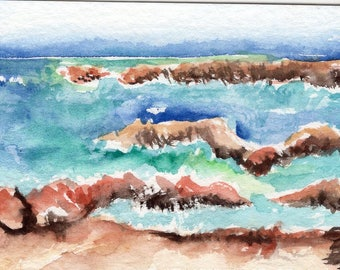 ACEO Aruba Original Watercolor Painting, near Natural Bridge Area Seascape