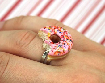 pink doughnut ring kawaii polymer clay charms miniature food jewelry polymer clay food ring pink donut ring doughnut charm bitten doughnut
