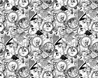 Nightmare Before Christmas Fabric World of NBC Tossed Fabric From Springs Creative 100% Cotton