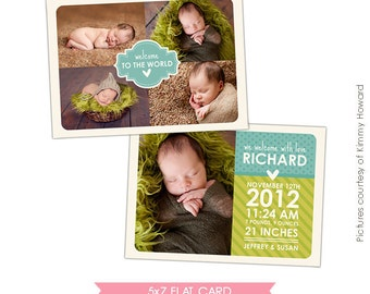 INSTANT DOWNLOAD - Birth announcement template - Fresh news - E428