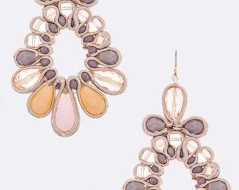 Silk Trim Laced Flower Earrings Lavender