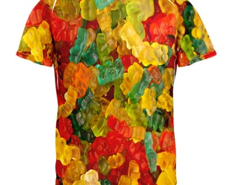 Candy Gummy Bears All Over Adult T-Shirt