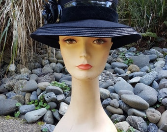 Oscar De La Renta Black Wool Wide Brim Hat With Patent Trim And Flower