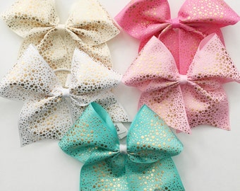Gold Accent Hair Bow In Your Choice Of Color Cheer On A Pony Tail
