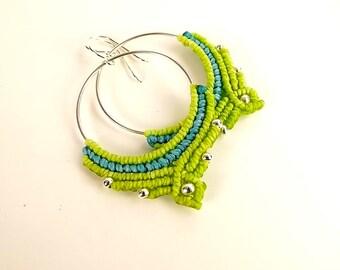 Macrame Hoop Earrings, Hoop Earrings In Apple Green And Aqua