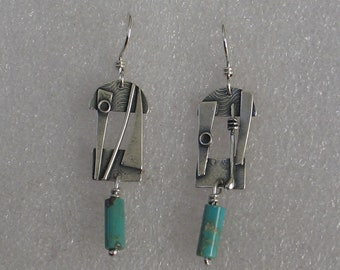 Sculptural Shape with Turquoise Drop Sterling  Earrings