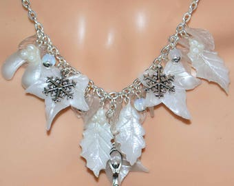The Winter Goddess Necklace - Handmade from Polymer Clay to celebrate the Winter Solstice/Yule.