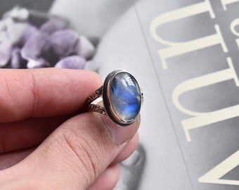 Sterling Silver and Rainbow Moonstone Ring. Size 7.