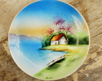 Vintage 40s-50s Signed Handpainted Wall Plate/ Retro/ Mid Century