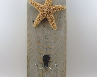 wall mount towel robe hook hanger starfish beach upcycled wood white wash