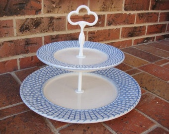 J Willfred Two Tiered Blue and White Basket Weave Serving Tray