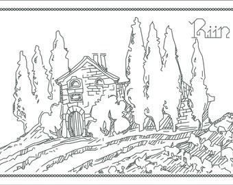 Blackwork Scenery Cross Stitch Pattern