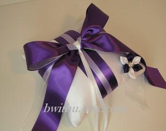 Wedding White and purple Ring Bearer Pillow with Handmade flower  -Custom order.