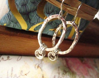 Hoop Earrings, Fine Silver, Elongnated Hoops, candies64