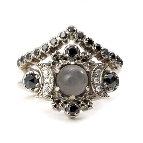 Selene Gray Moonstone Engagement Ring Set - Cosmos Diamond Boho 14k Gold Stacking Rings with Black and White Diamonds